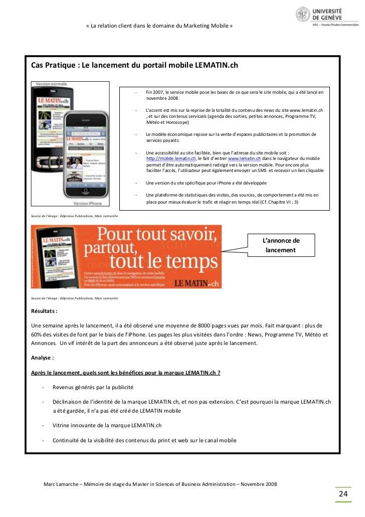 « La relation client dans le domaine du Marketing Mobile »Cas Pratique : Le lancement du portail mobile LEMATIN.ch        ...