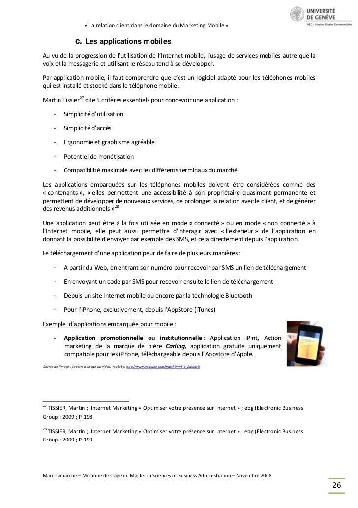 « La relation client dans le domaine du Marketing Mobile »                   c. Les applications mobilesAu vu de la progre...