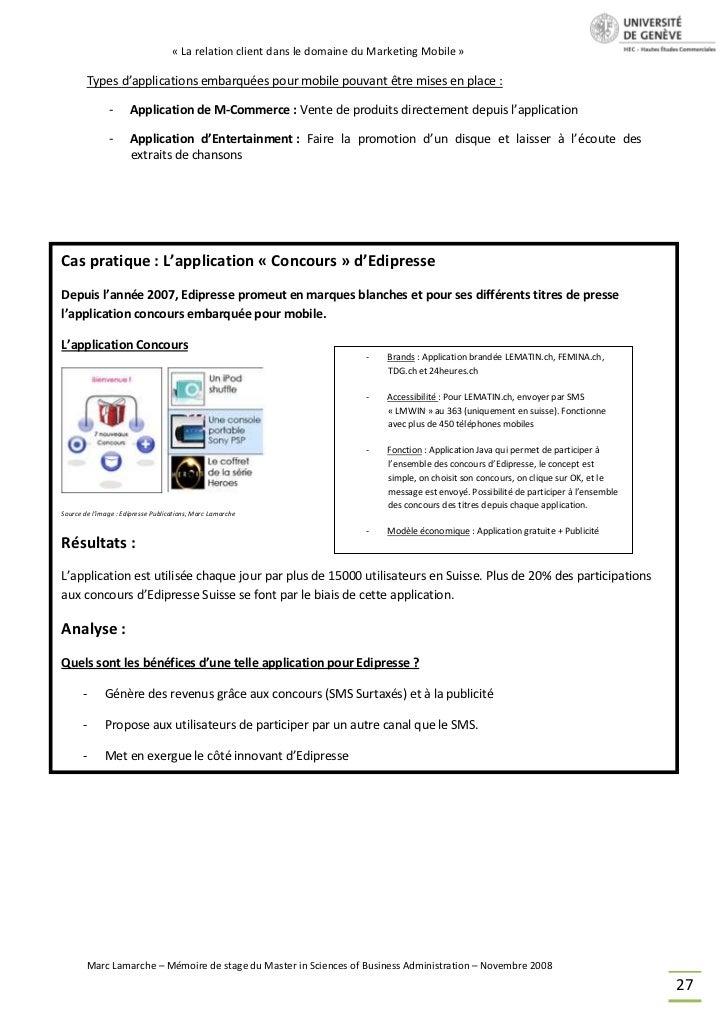 « La relation client dans le domaine du Marketing Mobile »        Types d'applications embarquées pour mobile pouvant être...