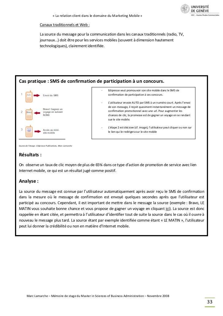 « La relation client dans le domaine du Marketing Mobile »                      Canaux traditionnels et Web :             ...