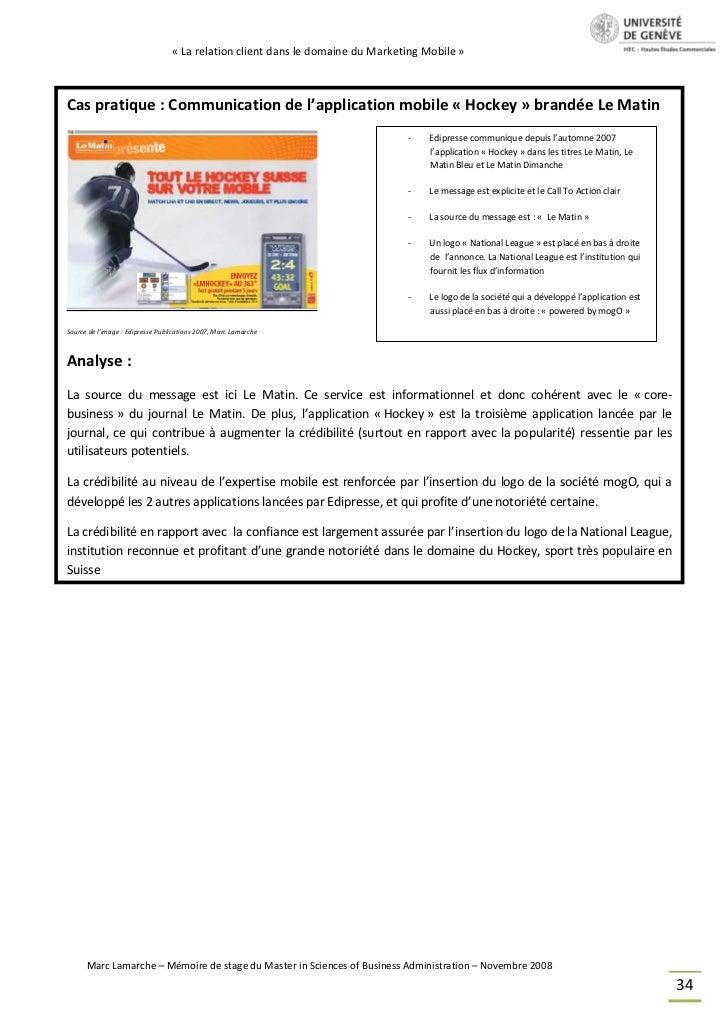 « La relation client dans le domaine du Marketing Mobile »Cas pratique : Communication de l'application mobile « Hockey » ...