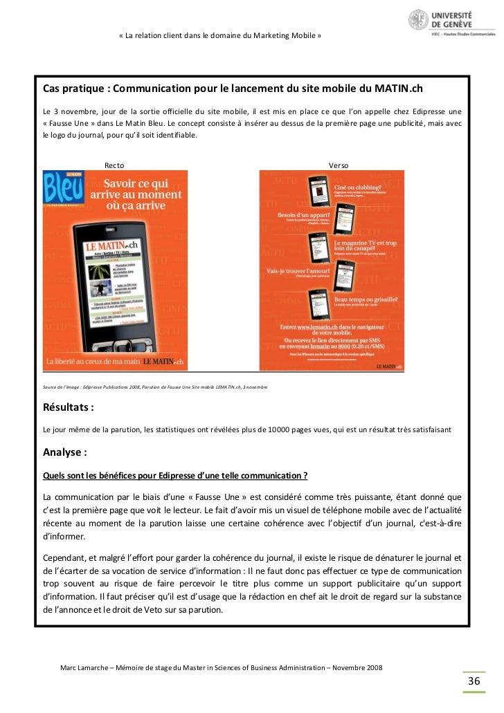 « La relation client dans le domaine du Marketing Mobile »Cas pratique : Communication pour le lancement du site mobile du...