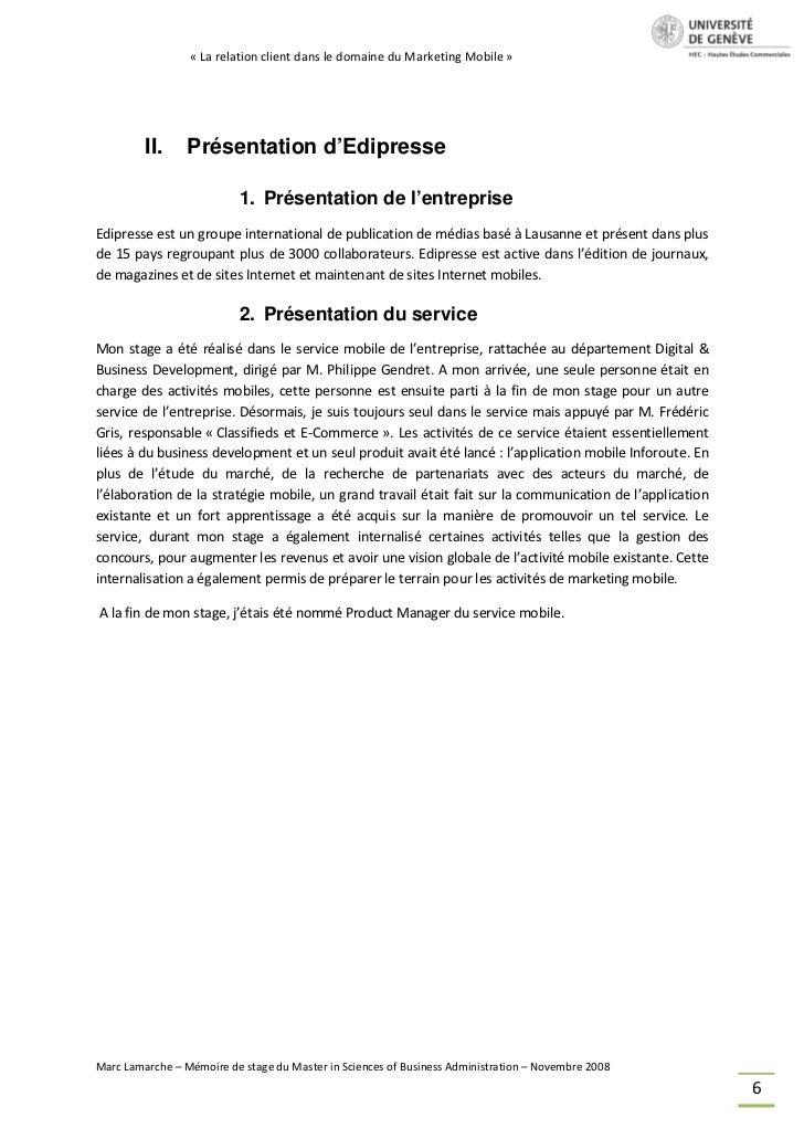 « La relation client dans le domaine du Marketing Mobile »         II.     Présentation d'Edipresse                       ...