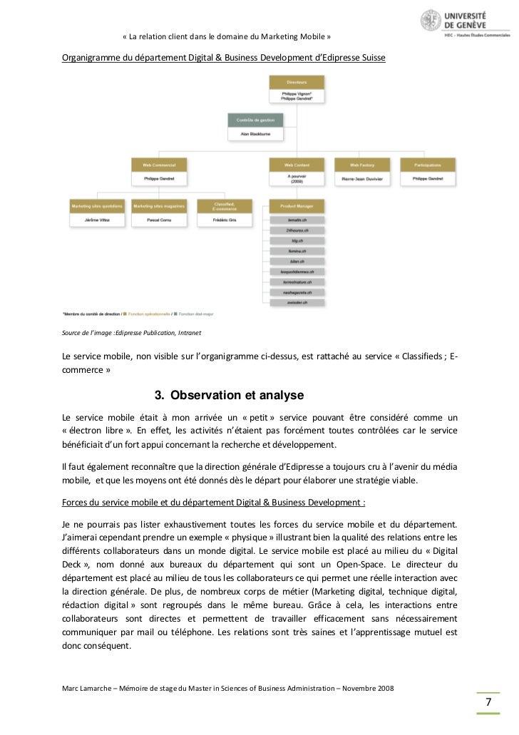 « La relation client dans le domaine du Marketing Mobile »Organigramme du département Digital & Business Development d'Edi...