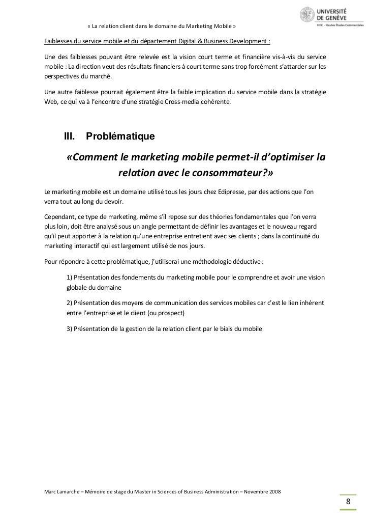 « La relation client dans le domaine du Marketing Mobile »Faiblesses du service mobile et du département Digital & Busines...