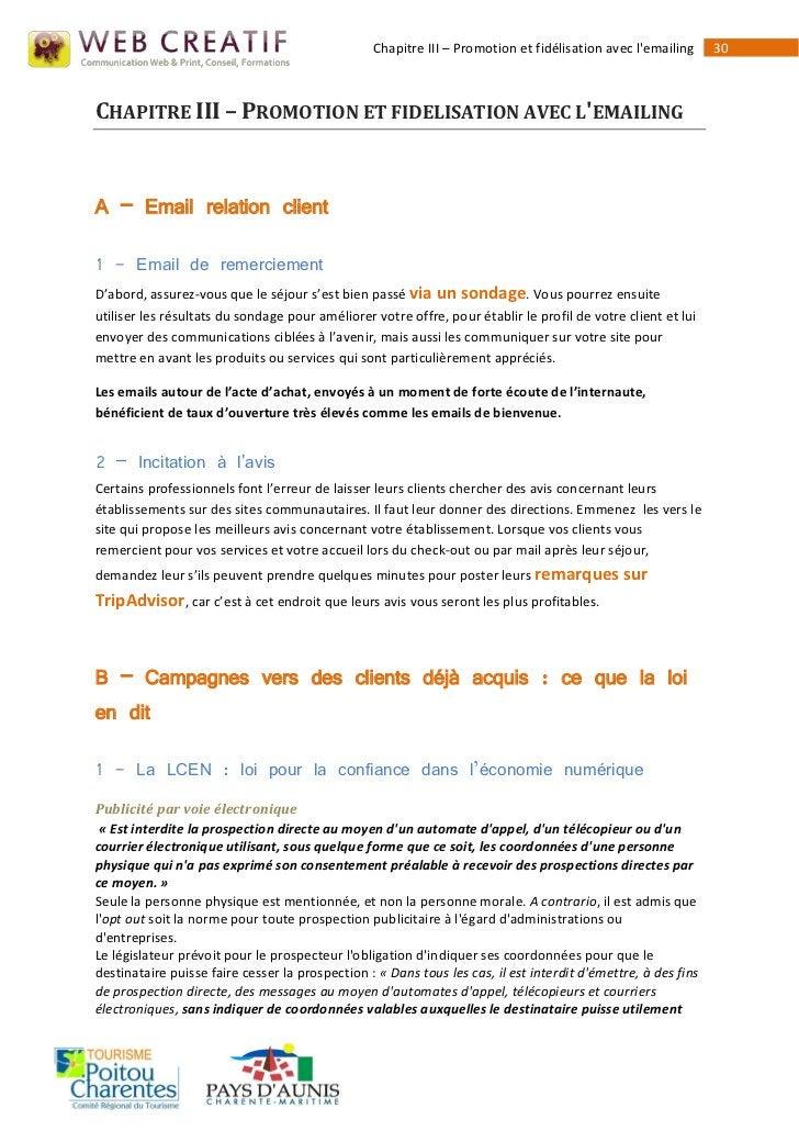 Chapitre III – Promotion et fidélisation avec lemailing      30CHAPITRE III – PROMOTION ET FIDELISATION AVEC LEMAILINGA – ...