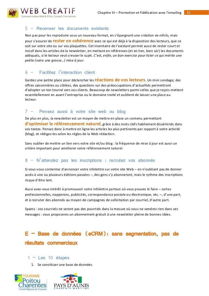 Chapitre III – Promotion et fidélisation avec lemailing     355 - Recenser les documents existantsNon pas pour les reprodu...