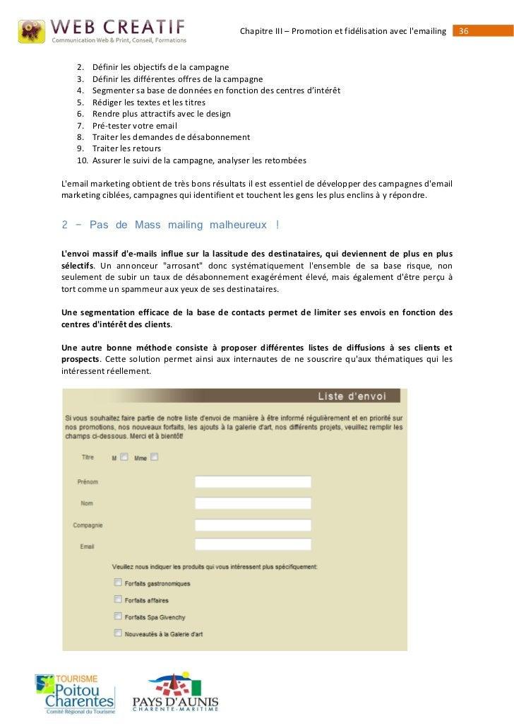 Chapitre III – Promotion et fidélisation avec lemailing   36    2.    Définir les objectifs de la campagne    3.    Défini...