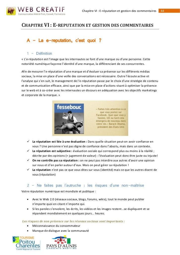 Chapitre VI : E-réputation et gestion des commentaires     44CHAPITRE VI : E-REPUTATION ET GESTION DES COMMENTAIRES    A -...