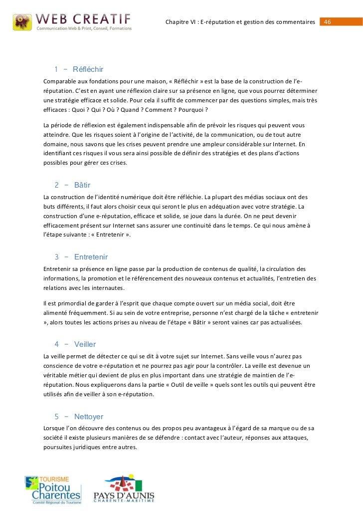 Chapitre VI : E-réputation et gestion des commentaires      46    1 - RéfléchirComparable aux fondations pour une maison, ...
