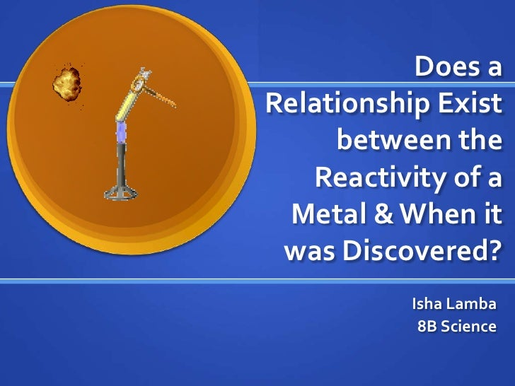 Does a Relationship Exist between the Reactivity of a Metal & When it was Discovered?<br />Isha Lamba<br />8B Science<br />