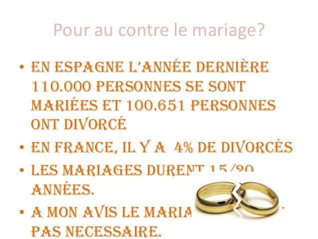Pour au contre le mariage? • En Espagne l'année dernière 110.000 personnes se sont mariées et 100.651 personnes ont divorc...