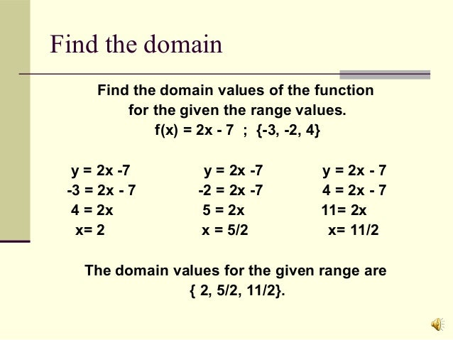 how to find the domain of a function Real function domain computation use functiondomain to compute largest  domains of definition of real functions  systems » solve geometric problems as  polynomial systems » find chemical equilibrium for networks of reactions .