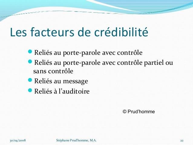 Les facteurs de crédibilité             Reliés au porte-parole avec contrôle             Reliés au porte-parole avec con...