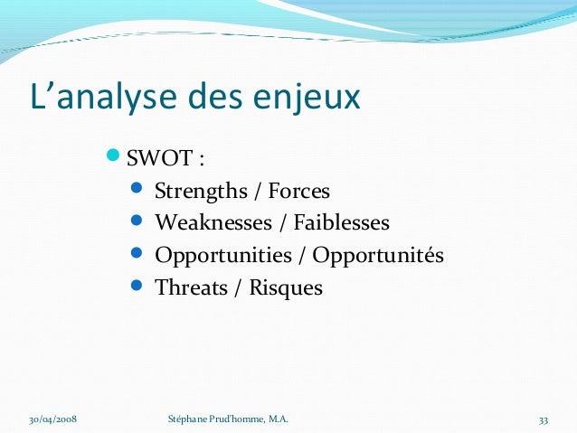 L'analyse des enjeux             SWOT :               Strengths / Forces               Weaknesses / Faiblesses         ...