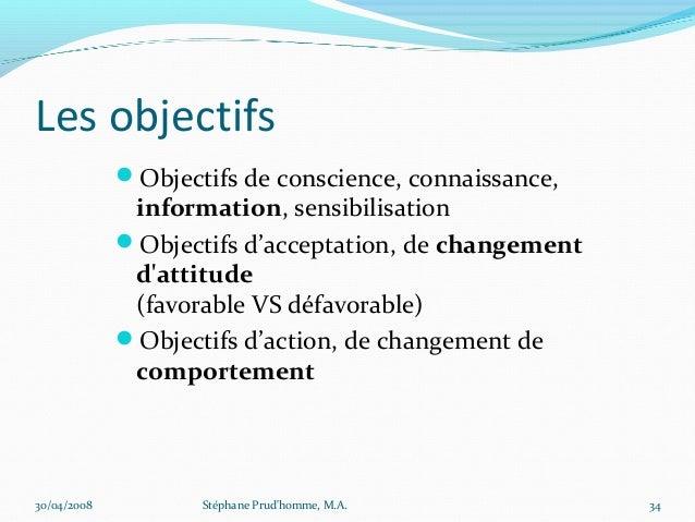 Les objectifs             Objectifs de conscience, connaissance,              information, sensibilisation             O...
