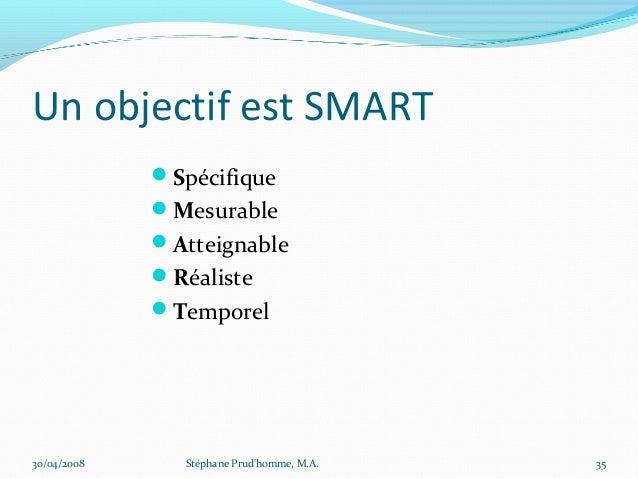 Un objectif est SMART             Spécifique             Mesurable             Atteignable             Réaliste       ...