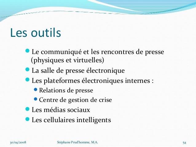 Les outils         Le communiqué et les rencontres de presse          (physiques et virtuelles)         La salle de pres...