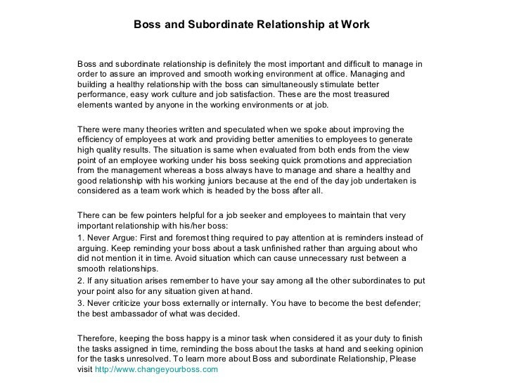 relationship between boss and subordinate
