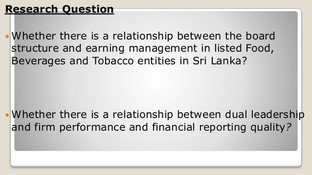 Relationship between corporate governance and earning