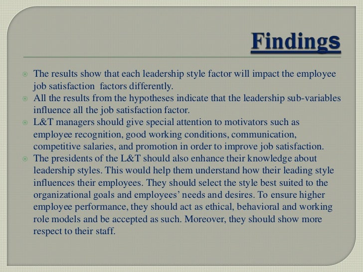 Relationship between leadership style and job satisfaction