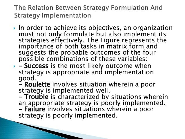 strategy formulation and initial implementation essay Implementation process perspective  customer relationship management (crm) systems is becoming increasingly  the initial success, and thus long- term success of.