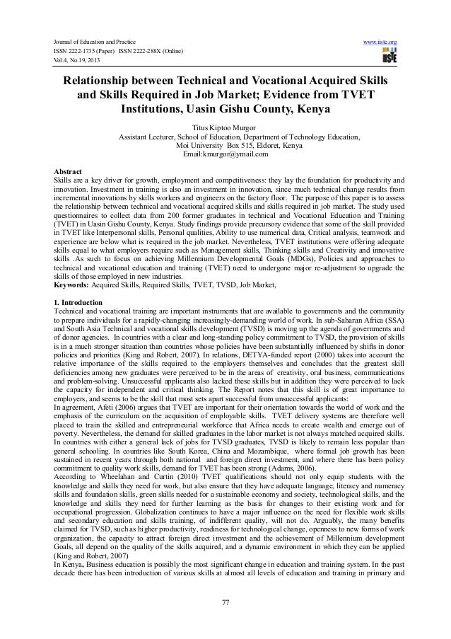 Journal of Education and Practice ISSN 2222-1735 (Paper) ISSN 2222-288X (Online) Vol.4, No.19, 2013  www.iiste.org  Relati...
