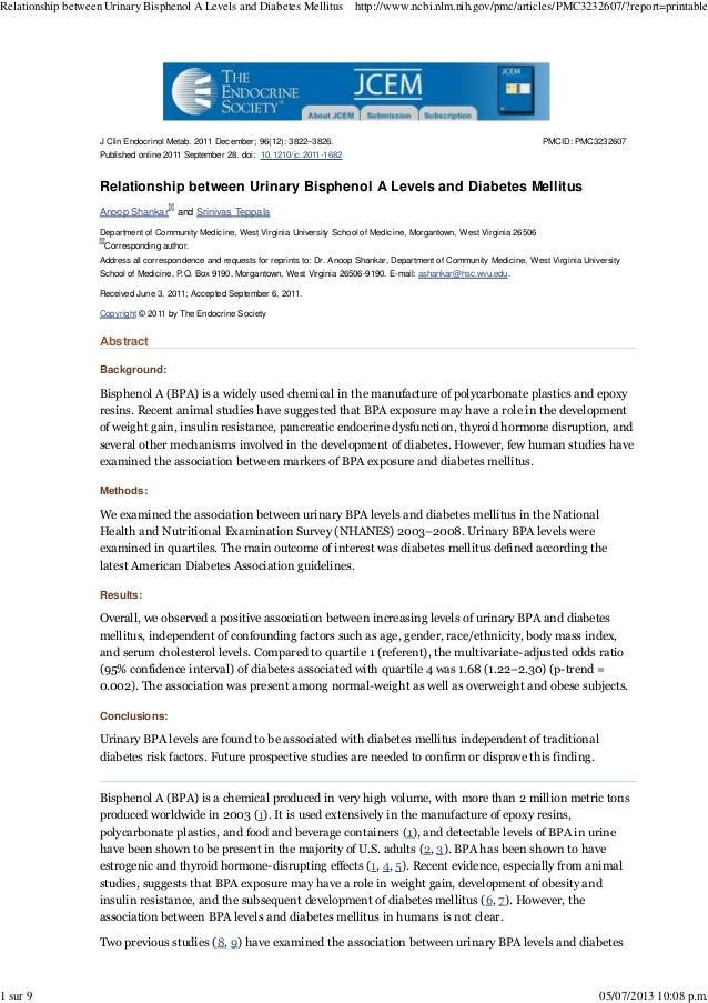 Relationship between Urinary Bisphenol A Levels and Diabetes Mellitus  1 sur 9  http://www.ncbi.nlm.nih.gov/pmc/articles/P...