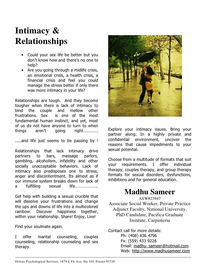 Intimacy & Relationships     •   Could your sex life be better but you         don't know how and there's no one to       ...