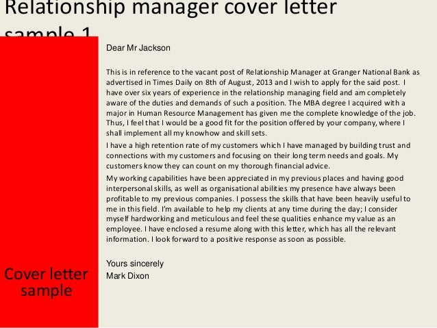 Relationship Manager Cover Letter ...