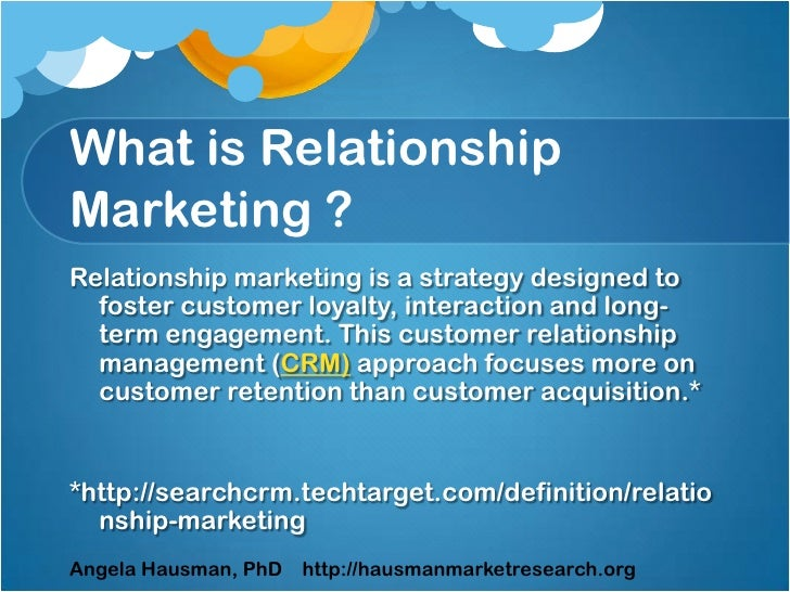 define customer relationship marketing Relationship marketing is a marketing approach that focuses on creating an ongoing and long-term relationship with customers it is geared toward building and nurturing strong.