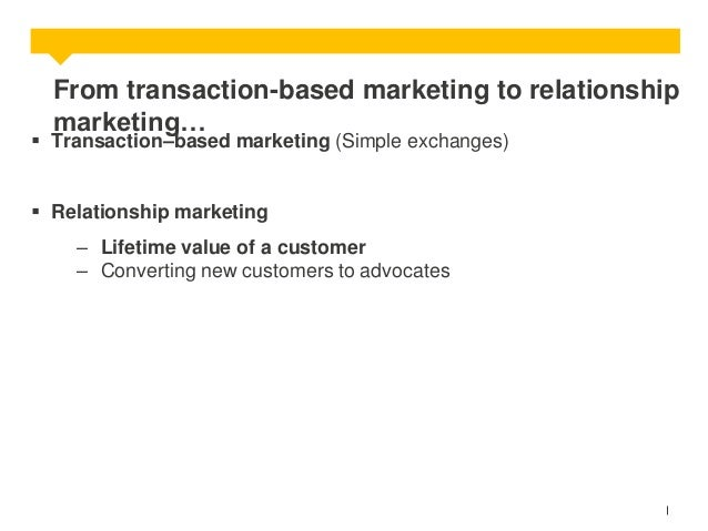 From transaction-based marketing to relationship marketing…   Transaction–based marketing (Simple exchanges)  Relationsh...