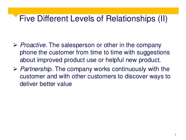 Five Different Levels of Relationships (II)  Proactive. The salesperson or other in the company phone the customer from t...