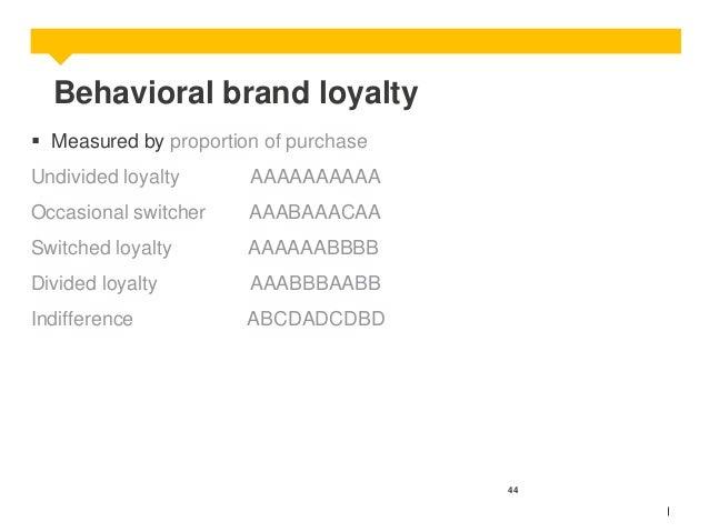 Behavioral brand loyalty  Measured by proportion of purchase Undivided loyalty  AAAAAAAAAA  Occasional switcher  AAABAAAC...