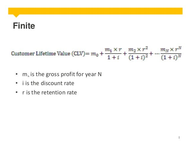 Finite  • m is the gross profit for year N • i is the discount rate • r is the retention rate N