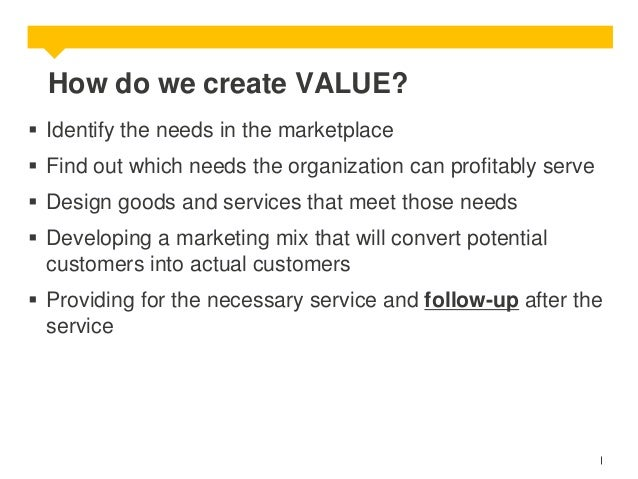 How do we create VALUE?  Identify the needs in the marketplace  Find out which needs the organization can profitably ser...