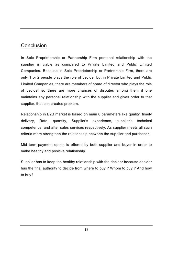 conclusion for sole proprietorship