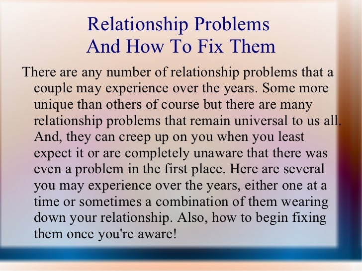 how to fix problems in a relationship