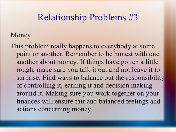 relationship problems with money