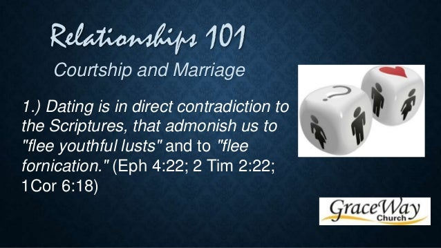 dating courtship and marriage Marriage is a god-ordained sacred institution, and it is intended to of knowing the lord)—you must not even consider dating [courting] them.