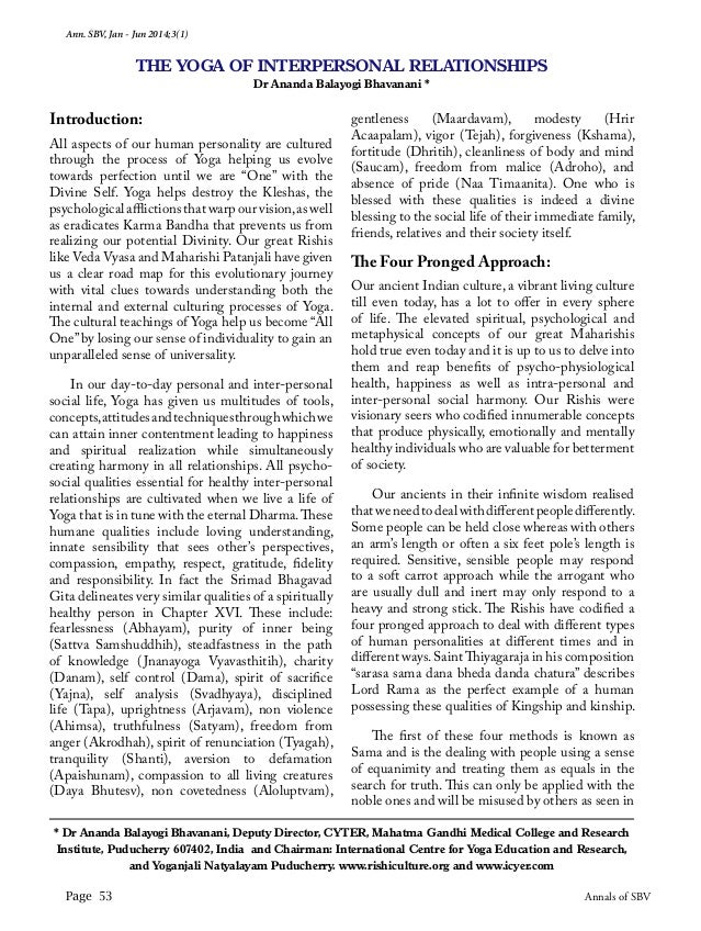 Ann. SBV, Jan - Jun 2014;3(1) Page 53 Annals of SBV Introduction: All aspects of our human personality are cultured throug...