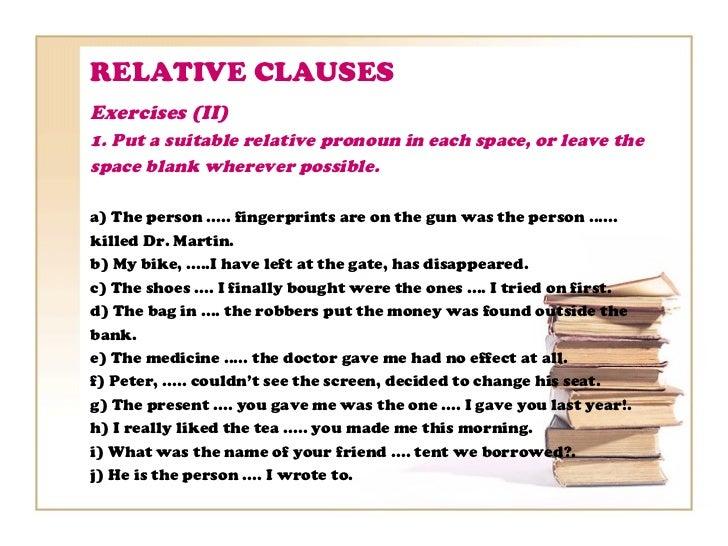 Relative clauses – Relative Pronoun Worksheet