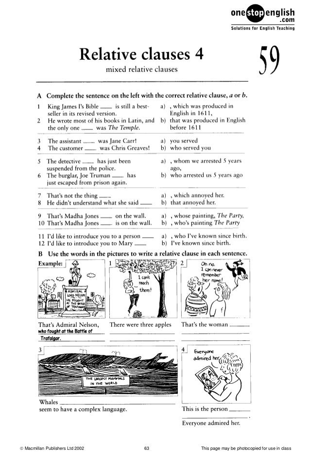 relative clauses exercises Relative clauses in english - grammar exercises relative sentences what, where, who, whom, whose, which, that, when.