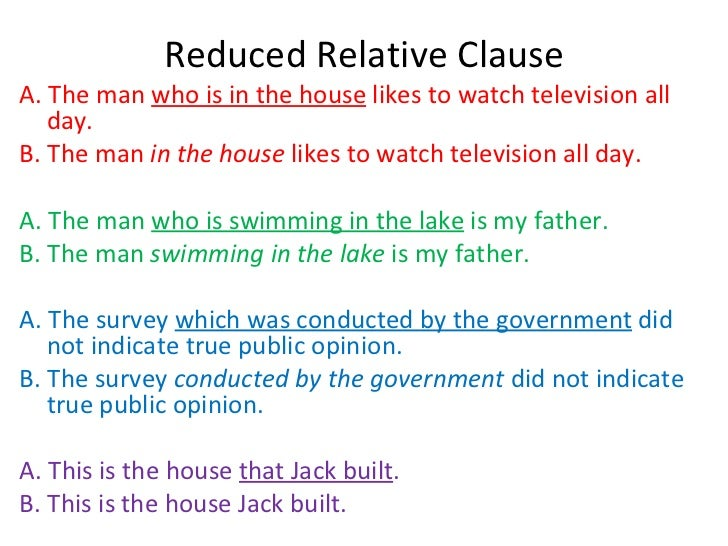 Relative clauses commas reductions