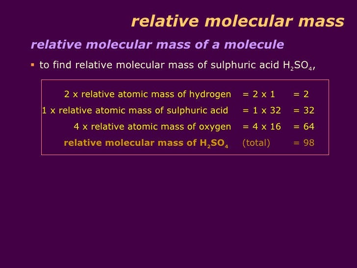 Relative Molecular Mass And Percentage Composition