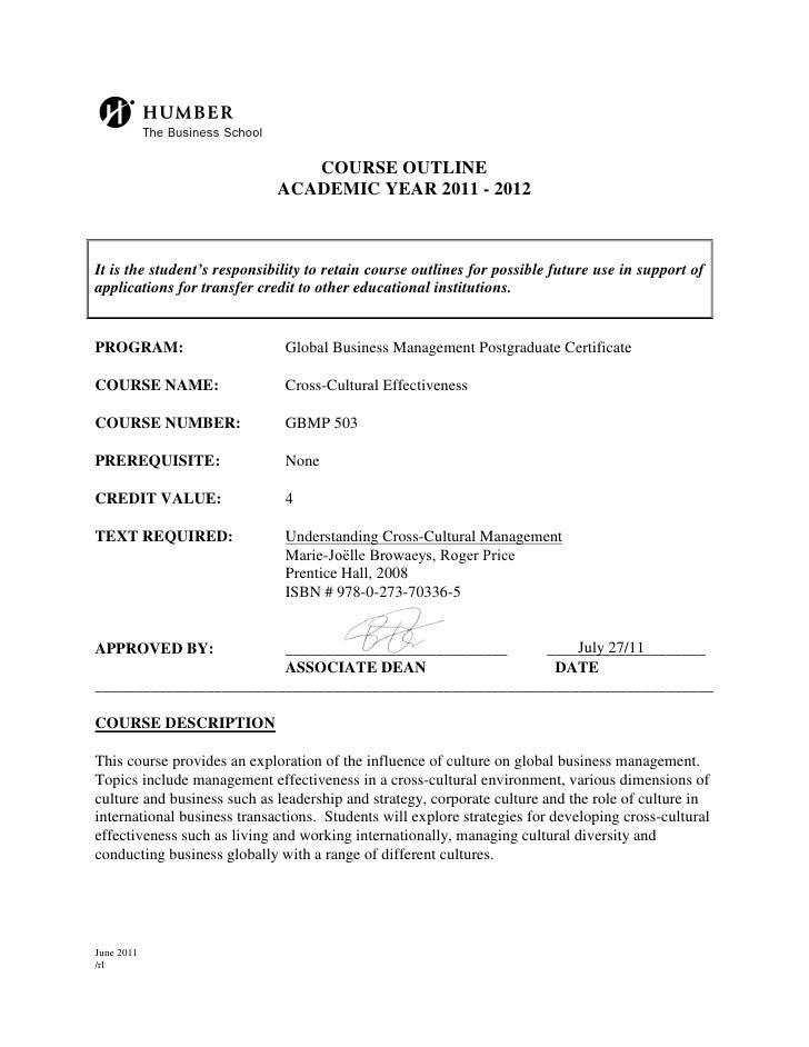 b                               COURSE OUTLINE                             ACADEMIC YEAR 2011 - 2012It is the student's re...