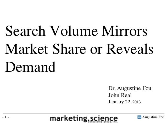 Search Volume Mirrors Market Share or Reveals Demand                Dr. Augustine Fou                John Real            ...