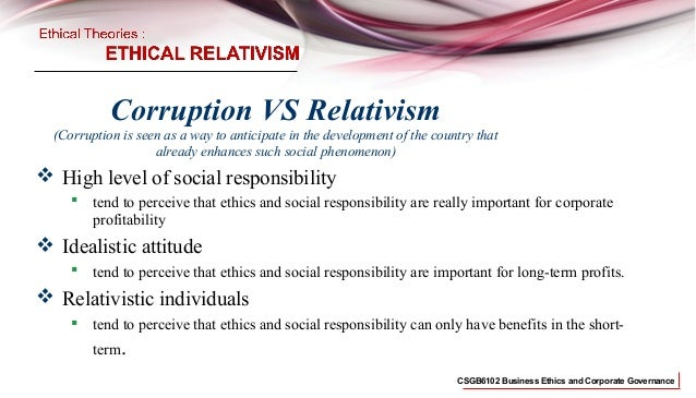 Business Ethics Relativism