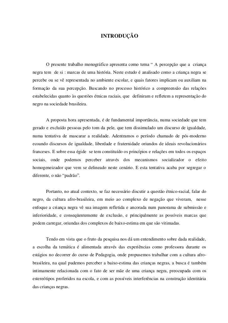 """9                                     INTRODUÇÃO       O presente trabalho monográfico apresenta como tema """" A percepção q..."""