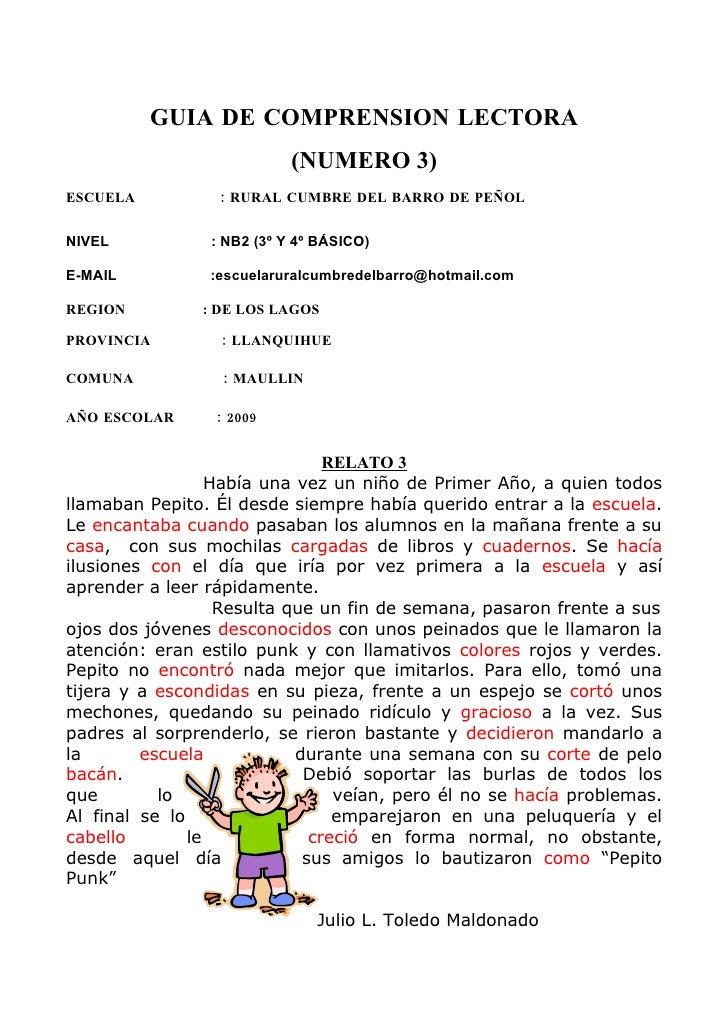 GUIA DE COMPRENSION LECTORA                             (NUMERO 3) ESCUELA           : RURAL CUMBRE DEL BARRO DE PEÑOL   N...